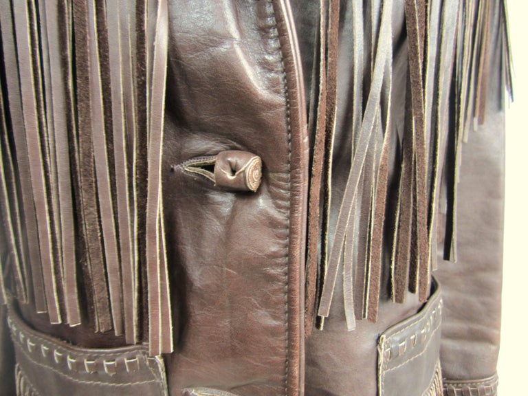 Black Western Fringe Biker Jacket 1960's Brown Leather SCHOTT RANCHER For Sale