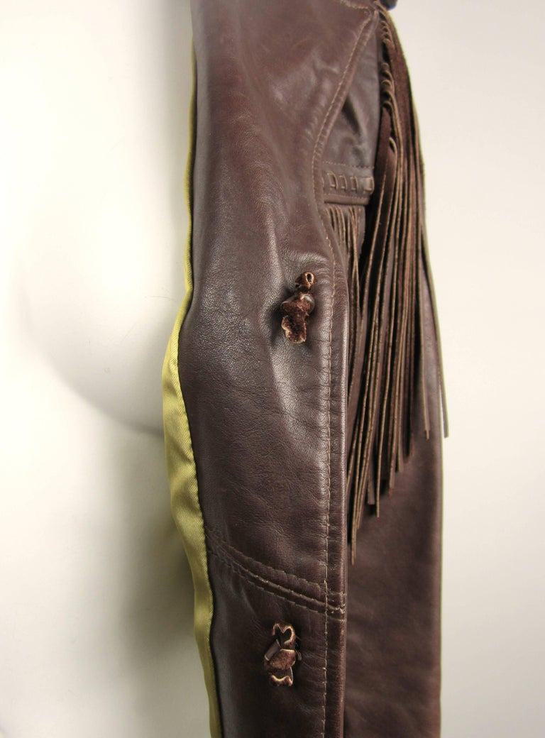 Western Fringe Biker Jacket 1960's Brown Leather SCHOTT RANCHER In Good Condition For Sale In Wallkill, NY