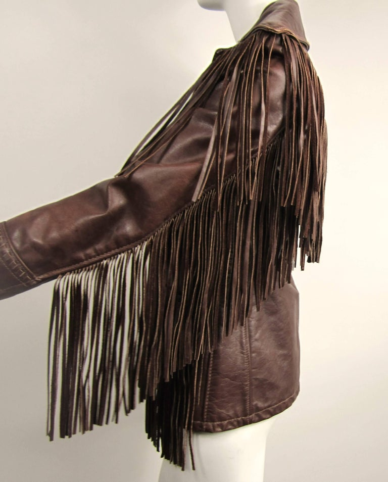 Women's or Men's Western Fringe Biker Jacket 1960's Brown Leather SCHOTT RANCHER For Sale