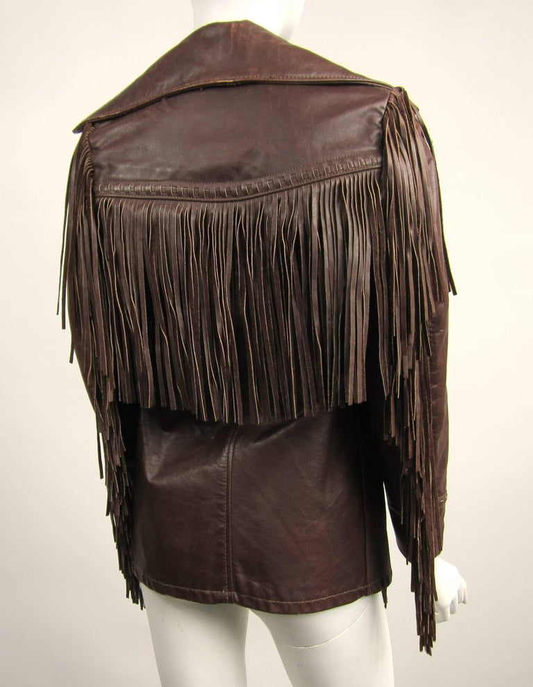 Western Fringe Biker Jacket 1960's Brown Leather SCHOTT RANCHER For Sale 1