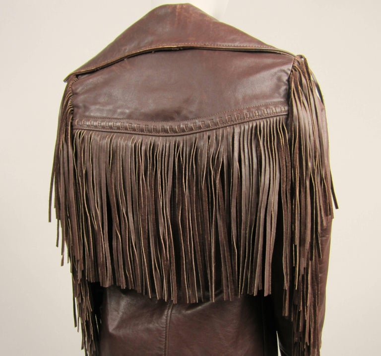 Western Fringe Biker Jacket 1960's Brown Leather SCHOTT RANCHER For Sale 2