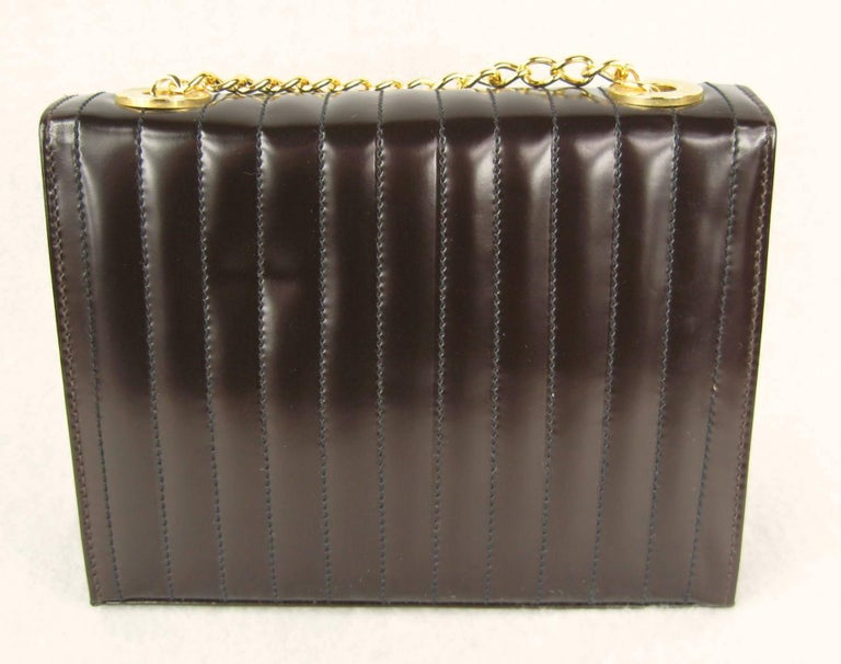 1990s Brown Leather Ribbed Escada Kelly Hand Bag Never Worn  In New Condition For Sale In Wallkill, NY