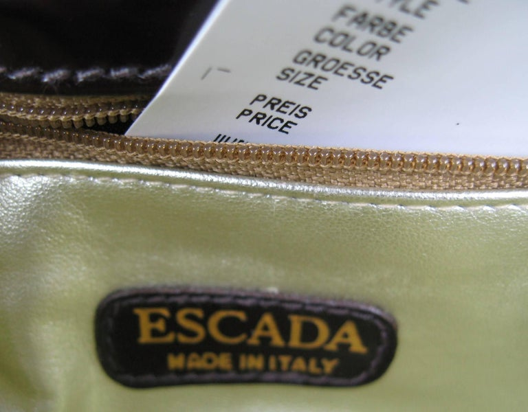 1990s Brown Leather Ribbed Escada Kelly Hand Bag Never Worn  For Sale 2