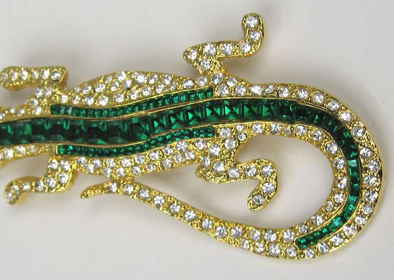 1990s Valentino Lizard Crystal Brooch NEW Never Worn  In New Condition For Sale In Wallkill, NY
