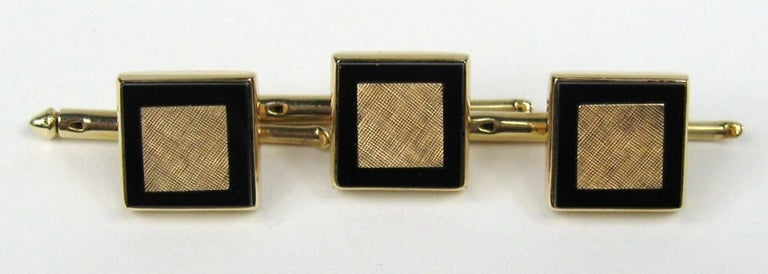 Mid Century Gold & Onyx Cuff link & Shirt Stud Set For Sale 2