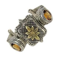 1990s Stephen Dweck 18K Gold & Sterling Silver Citrine Bracelet New, Never Worn