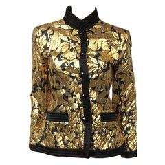1990s YSL Yves Saint Laurent Gold Black Silk Evening Jacket 36