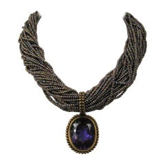1990s Stephen DWECK Amethyst Sterling 32 strand stone bib Necklace New w Tags