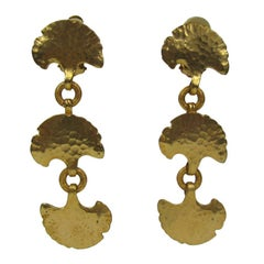 Dominique Aurientis Gold Gilt  New, Never Worn 1980s  Earrings