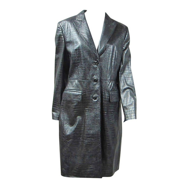 1990s Escada Silver Gray Metallic Reptile Leather Coat New Never worn  For Sale