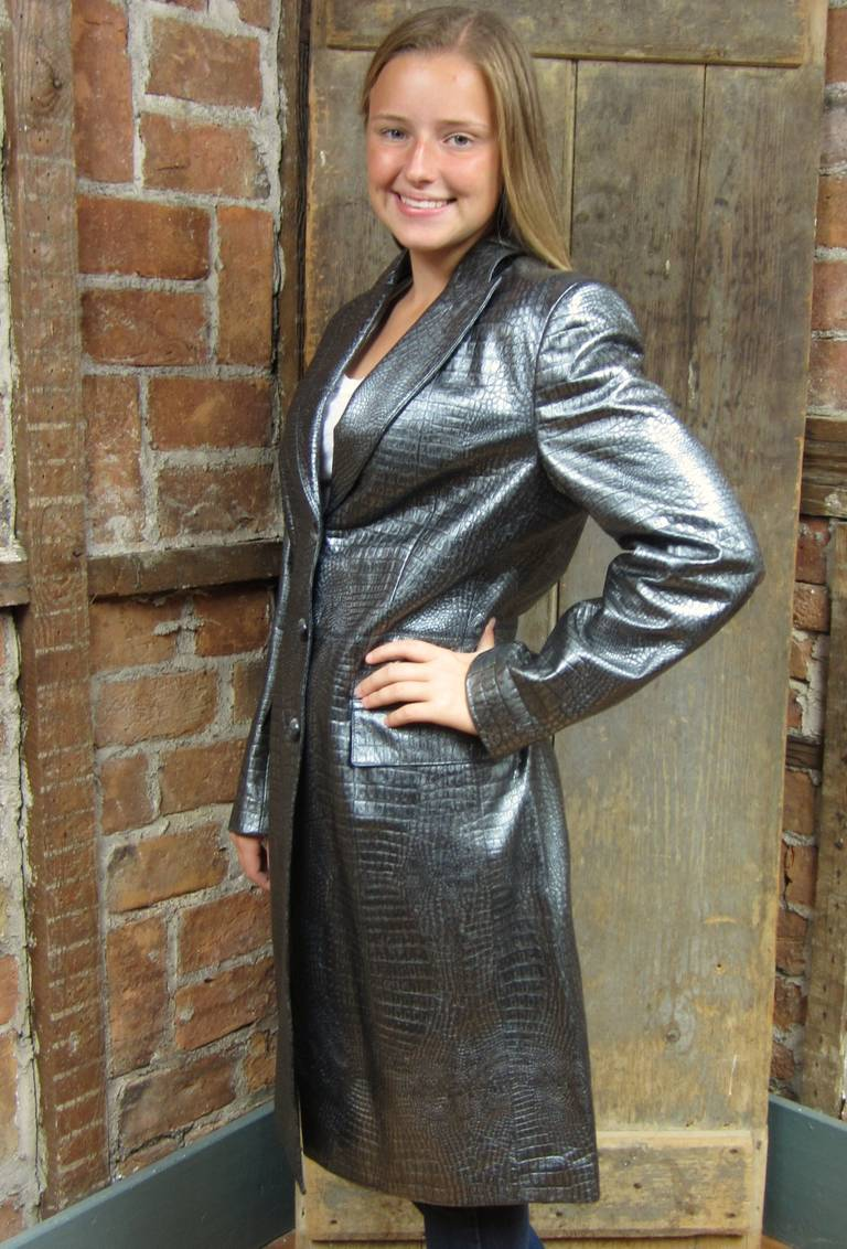 Black 1990s Escada Silver Gray Metallic Reptile Leather Coat New Never worn  For Sale