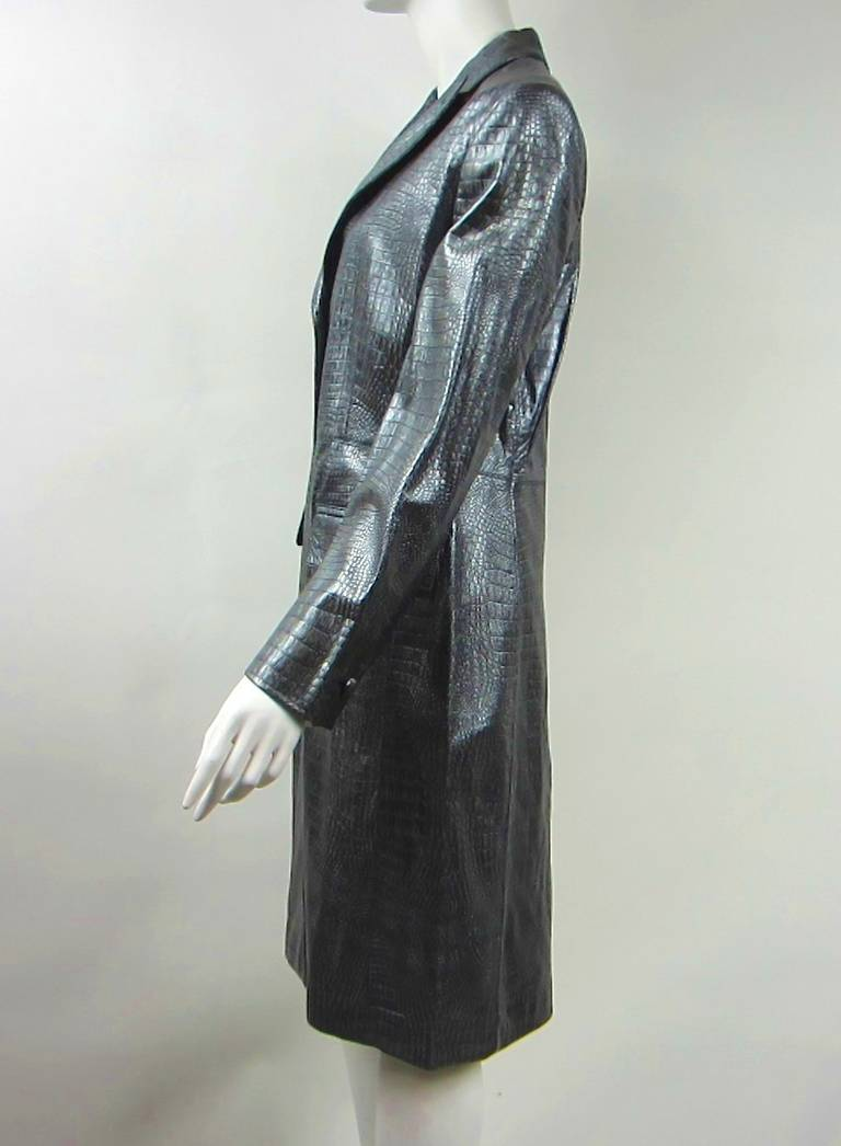 1990s Escada Silver Gray Metallic Reptile Leather Coat New Never worn  In New Condition For Sale In Wallkill, NY