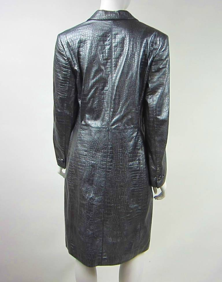 Women's 1990s Escada Silver Gray Metallic Reptile Leather Coat New Never worn  For Sale