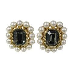 Ciner Pearl Gold Gilt swarovski Earrings New, Never worn 1980s