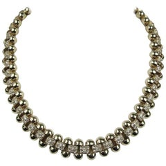 1990s Ciner swarovski Crystal Encrusted Goldtone Necklace New Never WORN