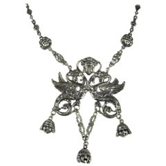 Antique Silver Griffin Dragon Necklace