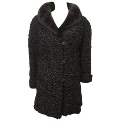 Chloe Persian Lamb Coat with Mink Fur Collar Jacket-Vintage