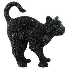 Swarovski Crystal Glitz Black Cat Brooch Pin New Never Worn