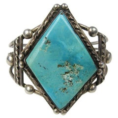 Sterling Silver Pawn Southwestern Navajo Turquoise Cuff Bracelet