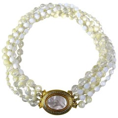 BARRERA Bib 6 strand faceted White Necklace New, never worn