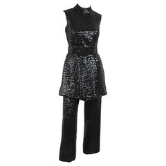 1960s Black Mod Victor Costa Sequins Tunic Mini Dress Pant suit Small