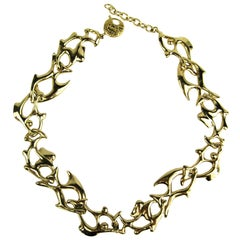 1980s Yves Saint Laurent YSL Fish Necklace New Never Worn
