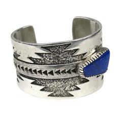 Zuni Sterling Silver Lapis Bracelet Signed T. Jackson Native American