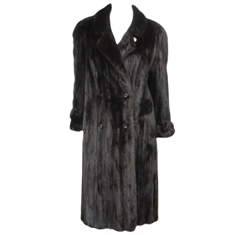 Blackglama Mink Fur Trench Coat Pauline Trigere