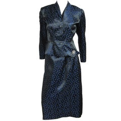 VIntage 1940s Deep Blue Halter Dress & Peplum Jacket Shrug