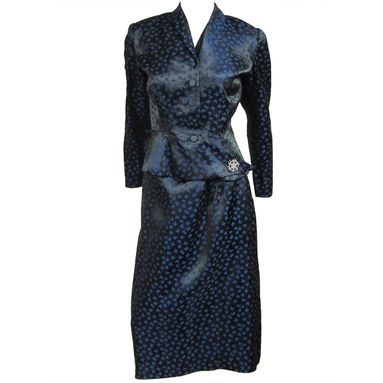 1940s Deep Blue Halter Dress & Peplum Jacket Shrug  For Sale