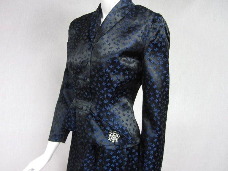Women's  1940s Deep Blue Halter Dress & Peplum Jacket Shrug  For Sale