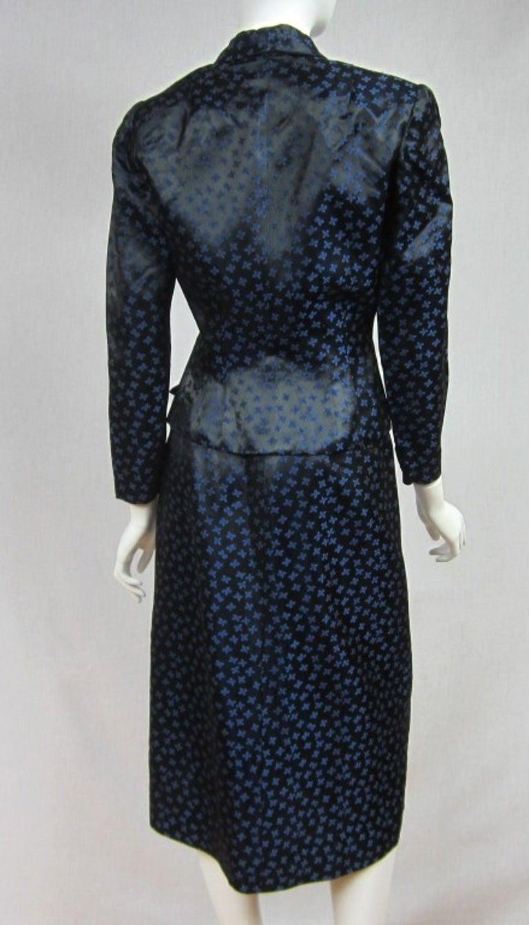 1940s Deep Blue Halter Dress & Peplum Jacket Shrug  For Sale 2