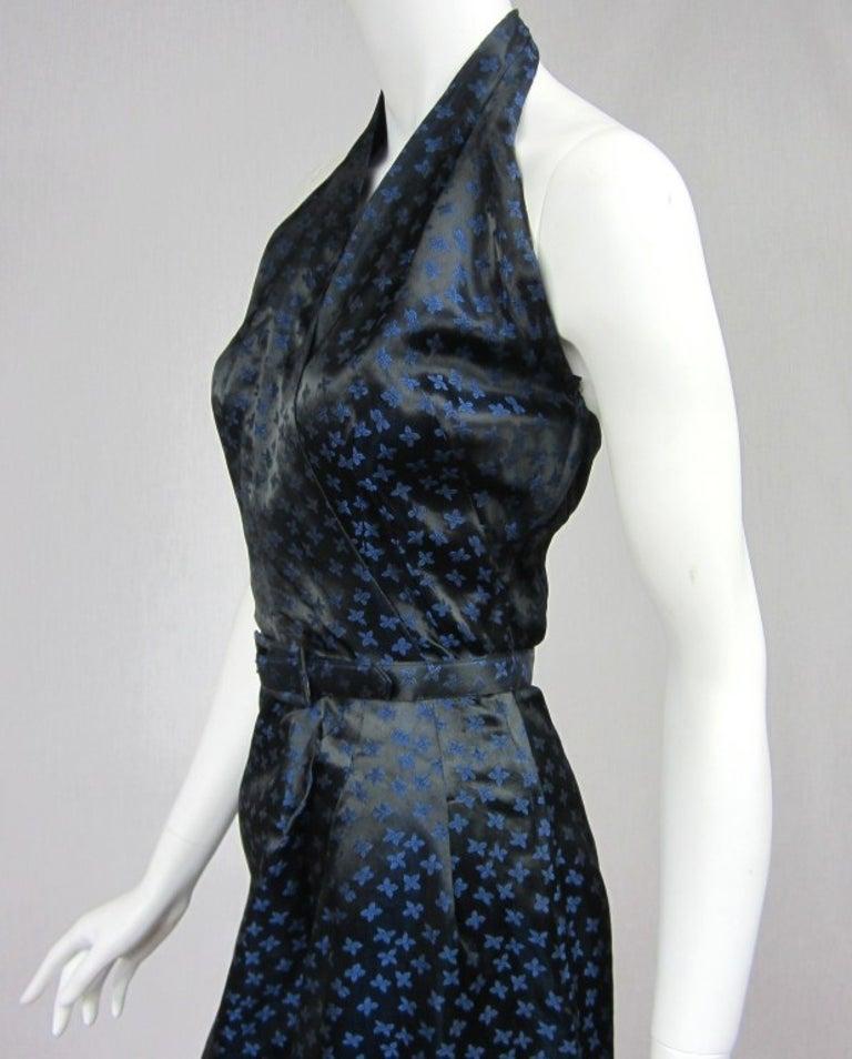 1940s Deep Blue Halter Dress & Peplum Jacket Shrug  For Sale 4