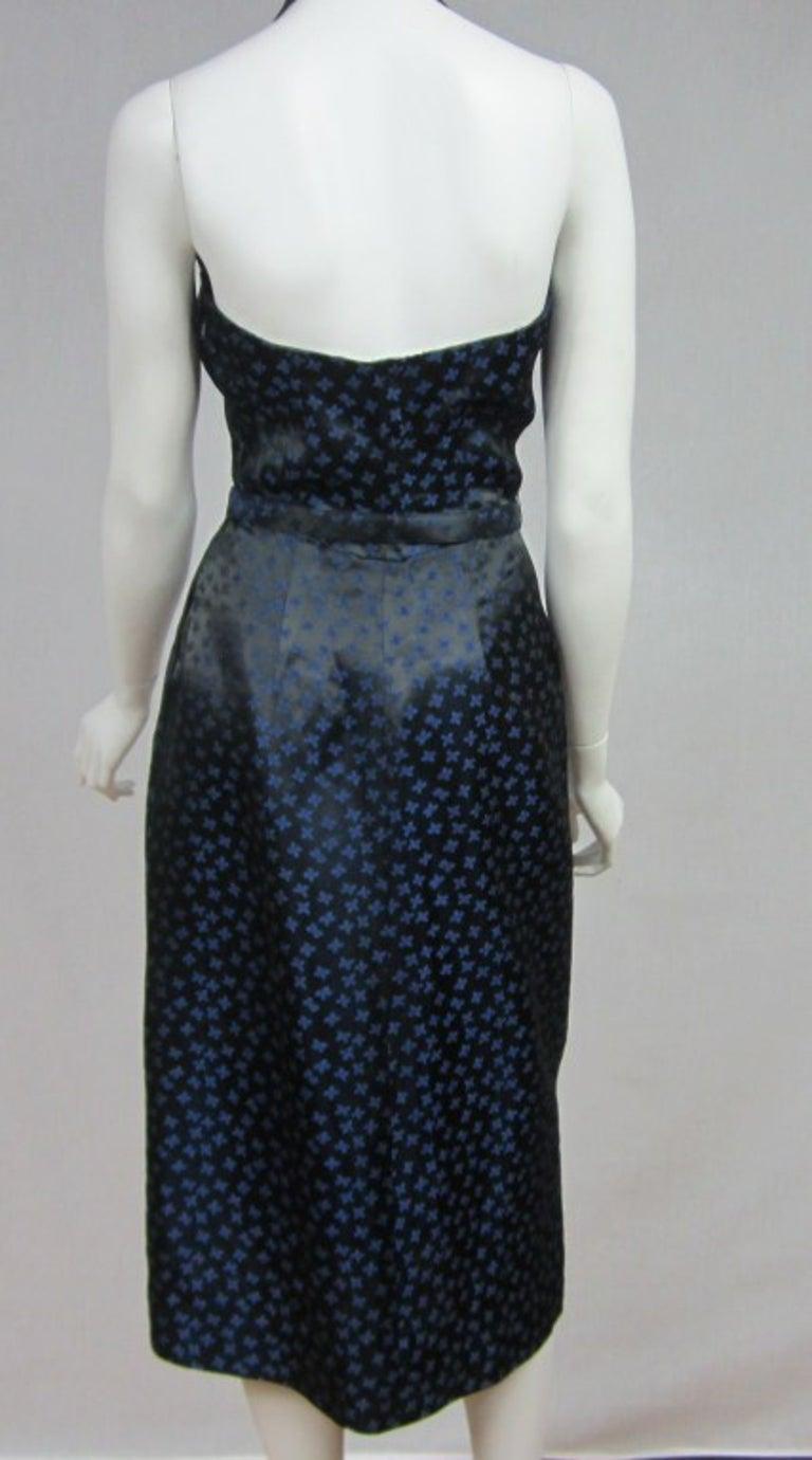 1940s Deep Blue Halter Dress & Peplum Jacket Shrug  For Sale 5