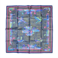1990's Hermes Bronze Striped Bird Silk Scarf New, Never Worn w/ Box