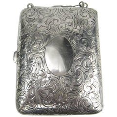 Antique Sterling Silver Mirror Card Coin Purse Compact Case nécessaire