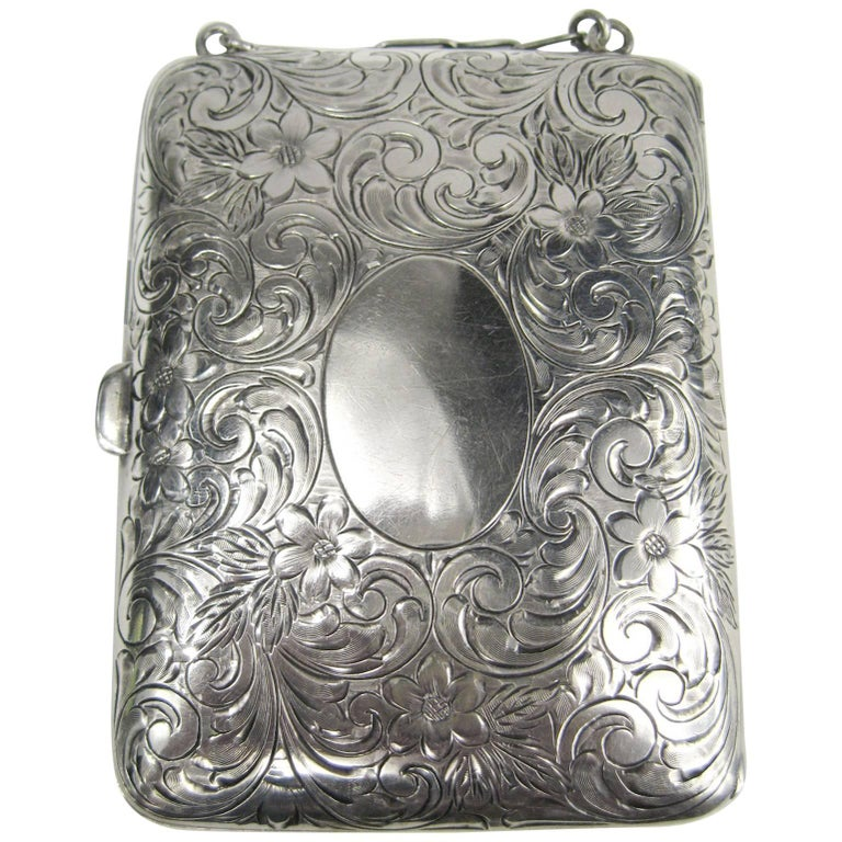 Antique Sterling Silver Mirror Card Coin Purse Compact Case