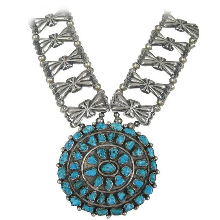Sterling Silver Pawn Butterfly link Squash Blossom Turquoise Necklace For Sale