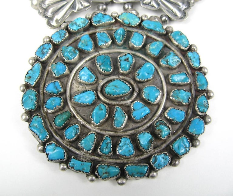 Sterling Silver Pawn Butterfly link Squash Blossom Turquoise Necklace In Excellent Condition For Sale In Wallkill, NY