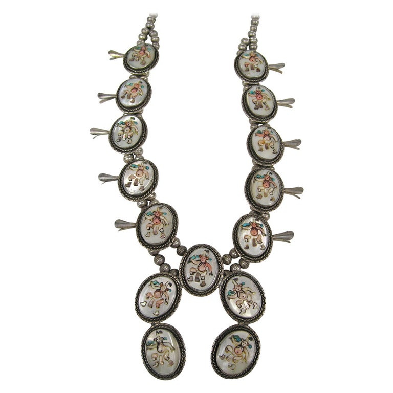 Sterling Silver Old Pawn Kachina Squash Blossom Turquoise Necklace For Sale