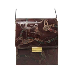 Italian Brown Leather Horse Bit Handbag Purse