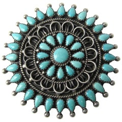 Large Petit Petite Point Zuni Sterling Silver Turquoise Brooch
