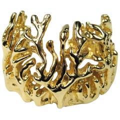 Vintage RLM Robert Lee Morris Gilt Gold Coral Reef Cuff Bracelet