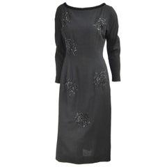Vintage 1960s Black Widow Spider Wiggle Dress - Wiliam Fox Little Black Dress