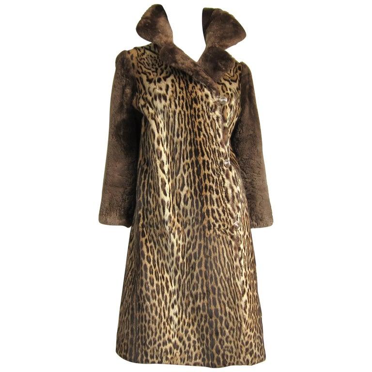 1940's Vintage Leopard Print Fur Mouton Sleeve Jacket Coat  For Sale