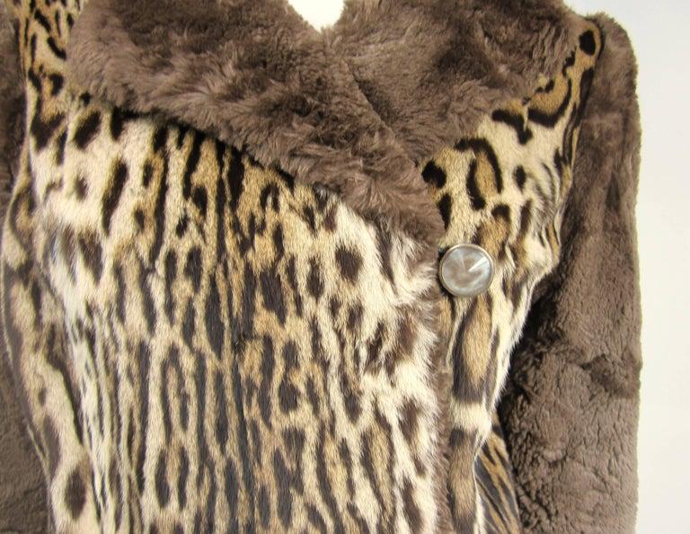 Brown 1940's Vintage Leopard Print Fur Mouton Sleeve Jacket Coat  For Sale