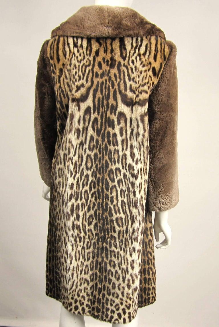 Women's 1940's Vintage Leopard Print Fur Mouton Sleeve Jacket Coat  For Sale