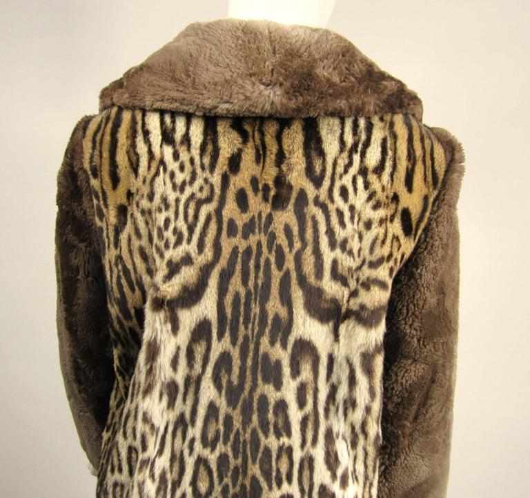 1940's Vintage Leopard Print Fur Mouton Sleeve Jacket Coat  For Sale 1