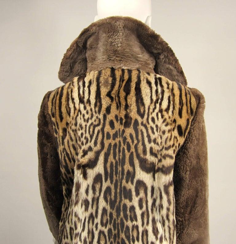 1940's Vintage Leopard Print Fur Mouton Sleeve Jacket Coat  For Sale 2