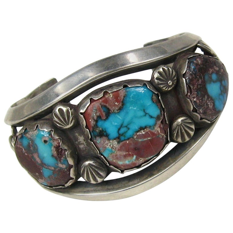 Vintage Navajo Sterling silver /& Turquoise Bracelet old Pawn